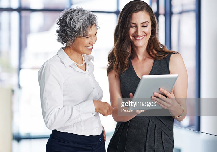 two ladies with mobile