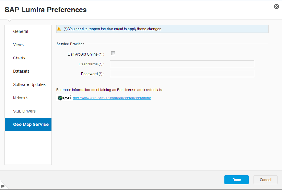 SAP Lumira Preferences