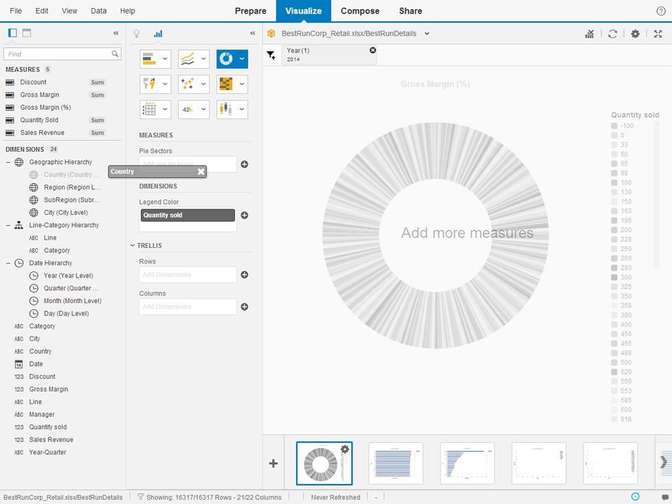 SAP Lumira Simple drag & drop Interface